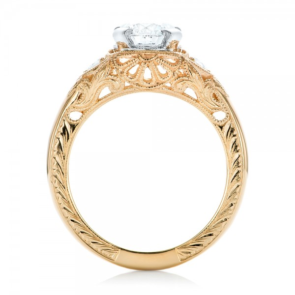 Custom Vintage Diamond Yellow Gold Engagement Ring - Finger Through View