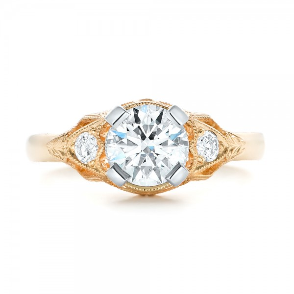 Custom Vintage Diamond Yellow Gold Engagement Ring - Top View