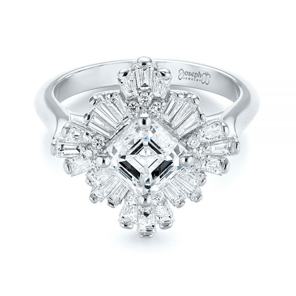 Custom Vintage Style Asscher Diamond Engagement Ring
