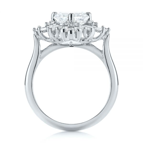 14k White Gold 14k White Gold Custom Vintage Style Asscher Diamond Engagement Ring - Front View -