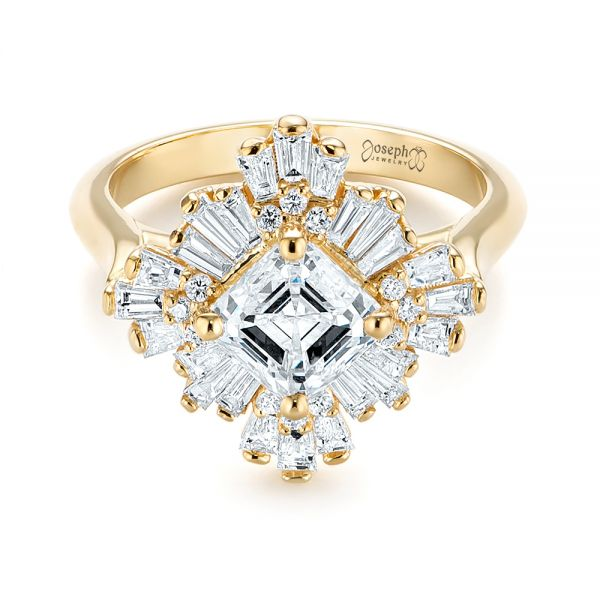 Custom Vintage Style Asscher Diamond Engagement Ring - Flat View -  104398 - Thumbnail
