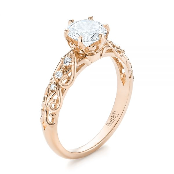 18k Rose Gold Custom Vintage Style Diamond Engagement Ring