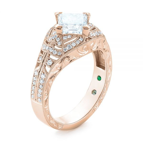 14k Rose Gold Custom Vintage Style Diamond Engagement Ring 104784 Seattle Bellevue Joseph Jewelry