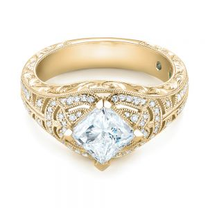 Custom Vintage Style Diamond Engagement Ring