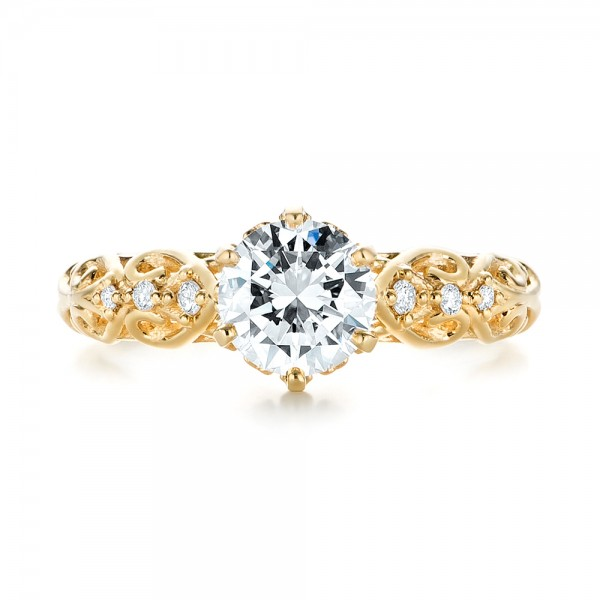 Custom Vintage Style Diamond Engagement Ring - Top View