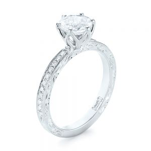 Custom White Sapphire and Diamond Engagement Ring - Image