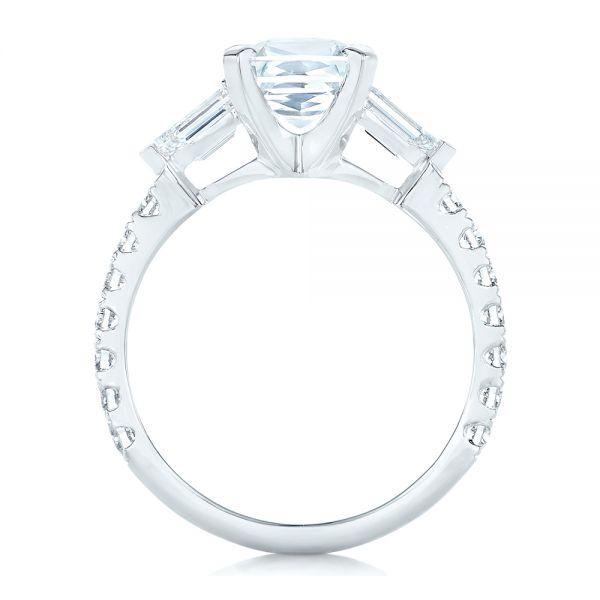 Platinum Custom White Sapphire And Diamond Engagement Ring - Front View -  102687