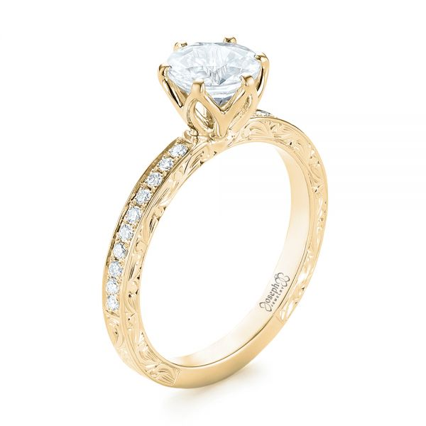 14K Yellow Gold Custom White Sapphire and Diamond Engagement Ring - Three-Quarter View -  103211 - Thumbnail