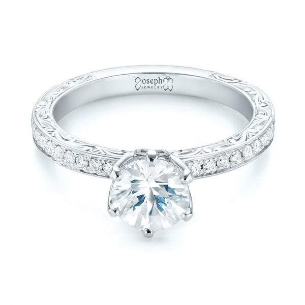 Custom White Sapphire and Diamond Engagement Ring - Laying View