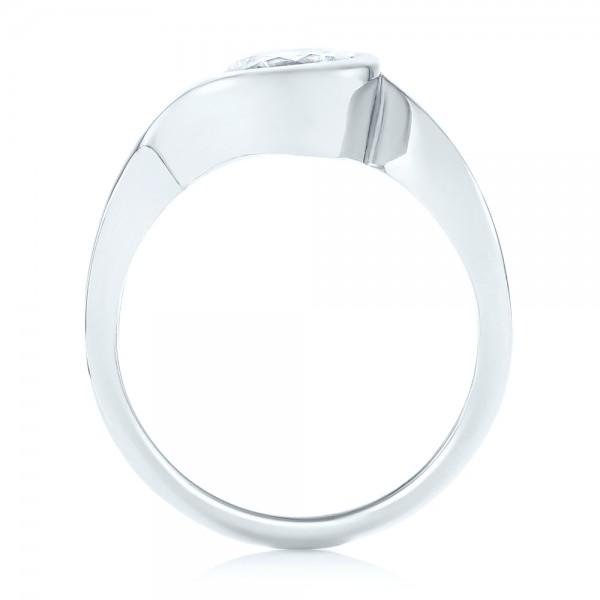 Wrap Diamond Engagement Ring - Finger Through View