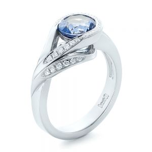 Custom Wrapped Blue Sapphire and Diamond Engagement Ring - Image