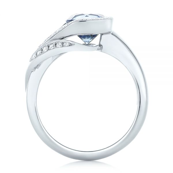 14k White Gold Custom Wrapped Blue Sapphire And Diamond Engagement Ring - Front View -
