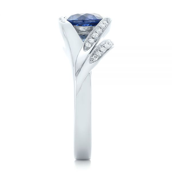 14k White Gold Custom Wrapped Blue Sapphire And Diamond Engagement Ring - Side View -