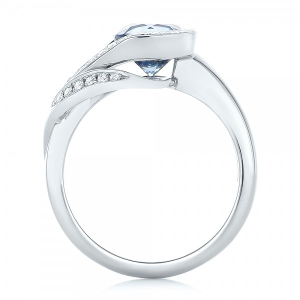 Custom Wrapped Blue Sapphire and Diamond Engagement Ring - Finger Through View