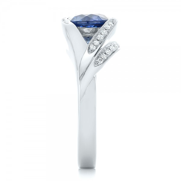 Custom Wrapped Blue Sapphire and Diamond Engagement Ring - Side View