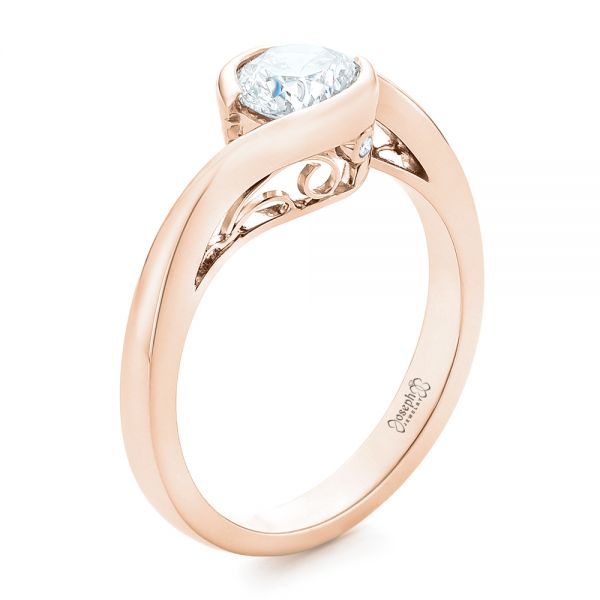 14k Rose Gold 14k Rose Gold Custom Wrapped Diamond Engagement Ring - Three-Quarter View -  102376
