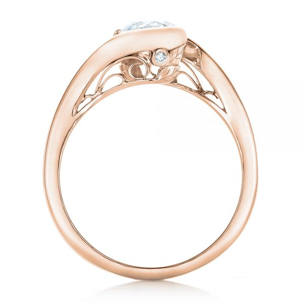 14k Rose Gold 14k Rose Gold Custom Wrapped Diamond Engagement Ring - Front View -  102376