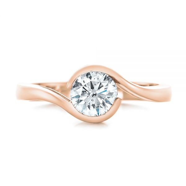 14k Rose Gold 14k Rose Gold Custom Wrapped Diamond Engagement Ring - Top View -  102376