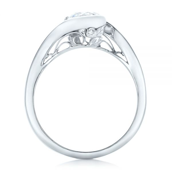 Platinum Custom Wrapped Diamond Engagement Ring - Front View -
