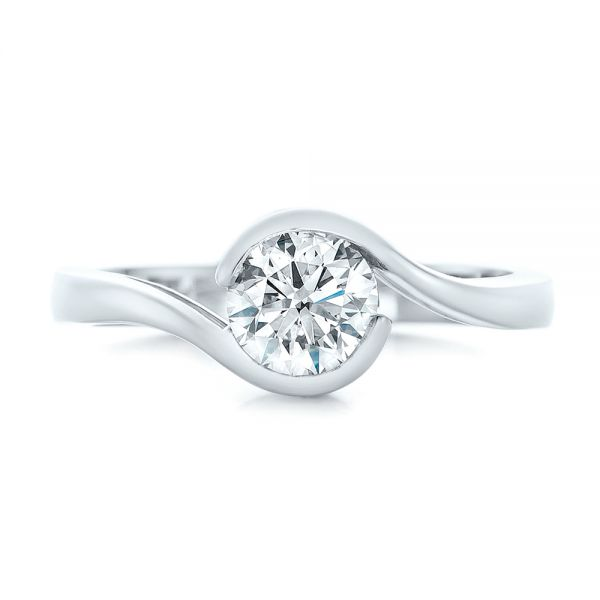 Platinum Custom Wrapped Diamond Engagement Ring - Top View -