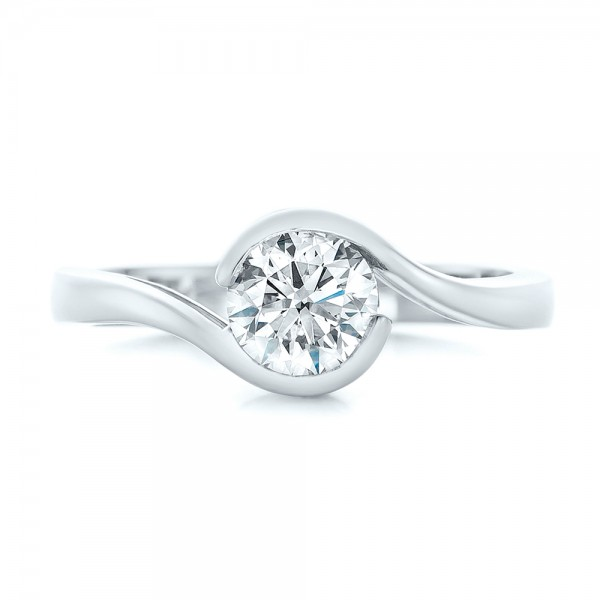 Custom Wrapped Diamond Engagement Ring - Top View