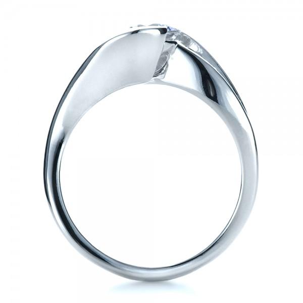 Custom Wrapped Diamond Engagment Ring - Finger Through View