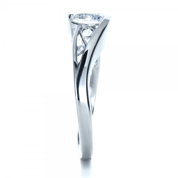 Custom Wrapped Diamond Engagment Ring - Side View