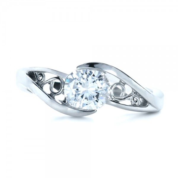 Custom Wrapped Diamond Engagment Ring - Top View