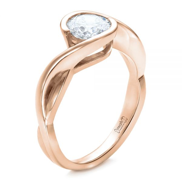 14k Rose Gold 14k Rose Gold Custom Wrapped Diamond Solitaire Engagement Ring - Three-Quarter View -