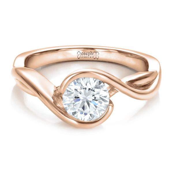 14k Rose Gold 14k Rose Gold Custom Wrapped Diamond Solitaire Engagement Ring - Flat View -