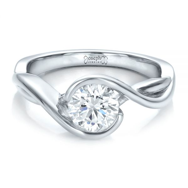Platinum Platinum Custom Wrapped Diamond Solitaire Engagement Ring - Flat View -