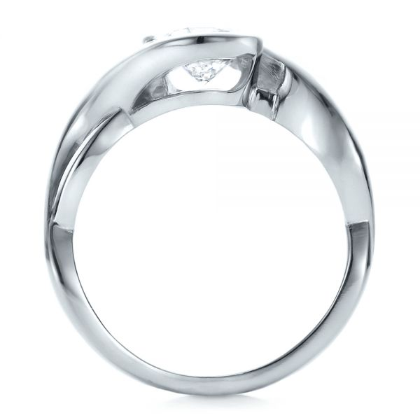 Platinum Platinum Custom Wrapped Diamond Solitaire Engagement Ring - Front View -