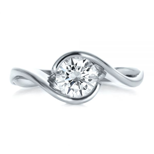 Platinum Platinum Custom Wrapped Diamond Solitaire Engagement Ring - Top View -