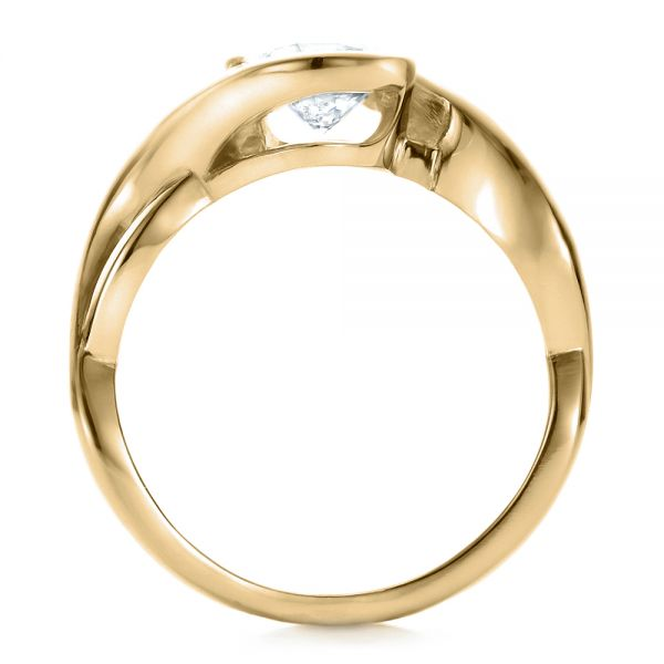 18k Yellow Gold 18k Yellow Gold Custom Wrapped Diamond Solitaire Engagement Ring - Front View -