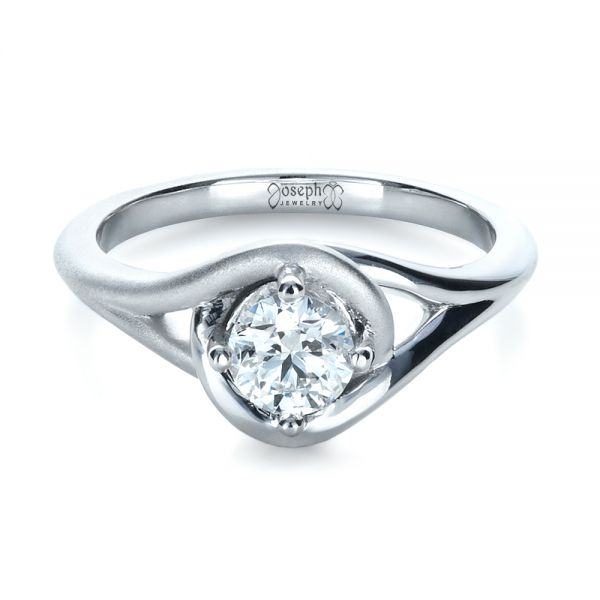 18k White Gold Custom Wrapped Shank Engagement Ring - Flat View -