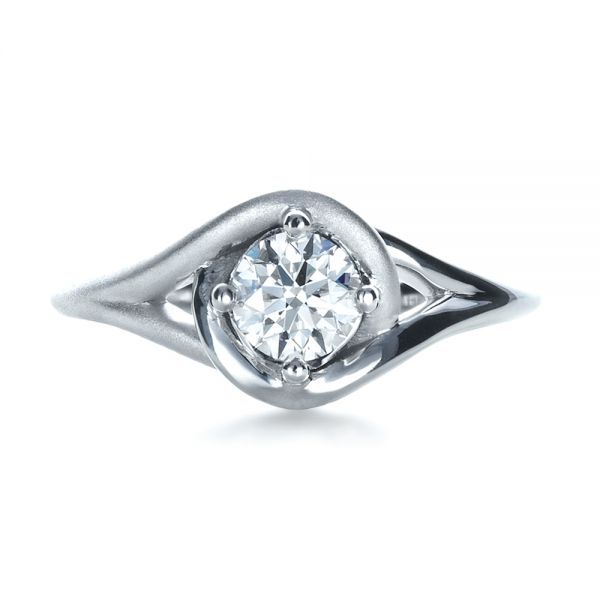 18k White Gold Custom Wrapped Shank Engagement Ring - Top View -