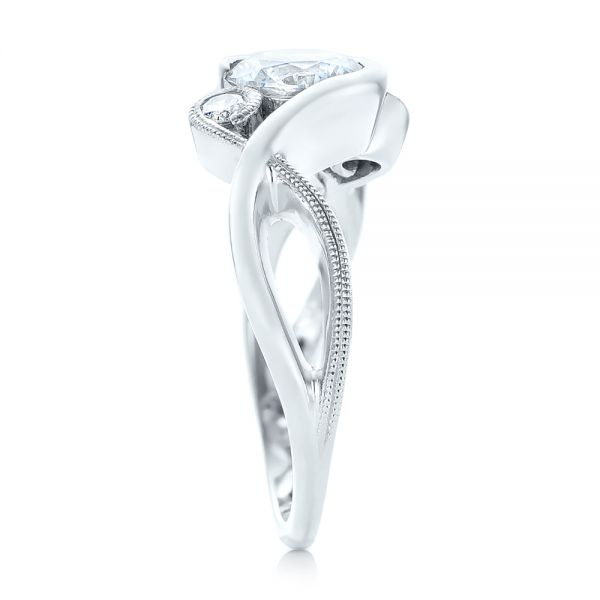 14k White Gold Custom Wrapped Three-stone Diamond Engagement Ring - Side View -
