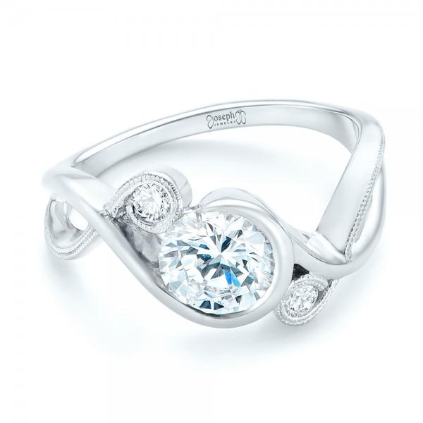 Custom Wrapped Three-stone Diamond Engagement Ring - Laying View