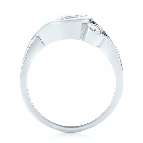 Custom Wrapped Three-stone Diamond Engagement Ring - Finger Through View