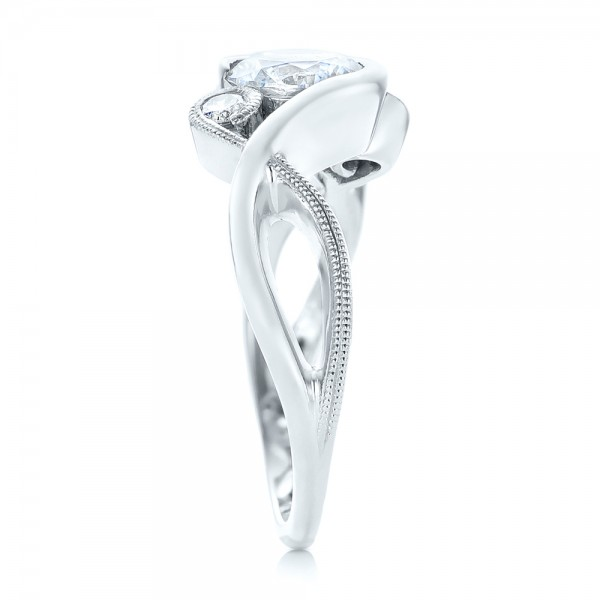 Custom Wrapped Three-stone Diamond Engagement Ring - Side View