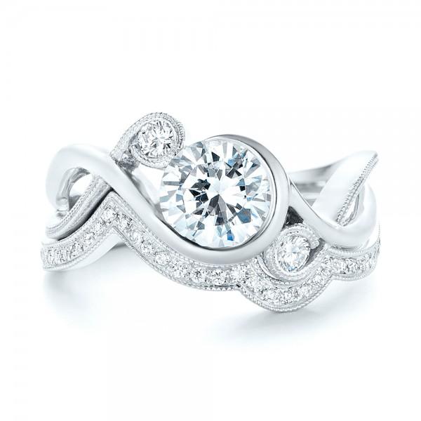 Custom Wrapped Three-stone Diamond Engagement Ring - Top View