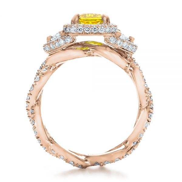 14k Rose Gold 14k Rose Gold Custom Yellow Diamond And Diamond Halo Engagement Ring - Front View -