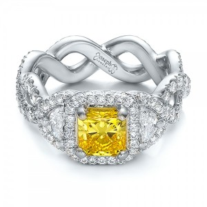 Custom Yellow Diamond and Diamond Halo Engagement Ring
