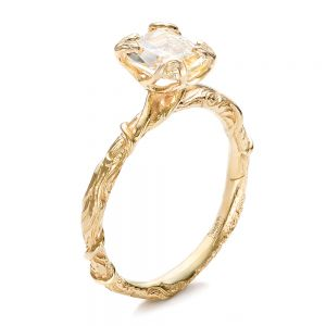 Custom Yellow Diamond and Organic Vine Engagement Ring - Image
