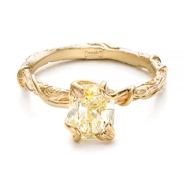 18k Yellow Gold Custom Yellow Diamond And Organic Vine Engagement Ring - Flat View -