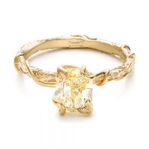 Custom Yellow Diamond and Organic Vine Engagement Ring