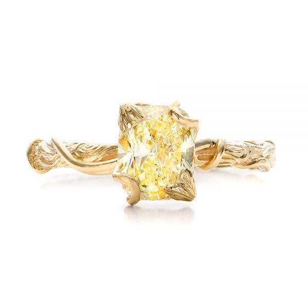 18k Yellow Gold Custom Yellow Diamond And Organic Vine Engagement Ring - Top View -