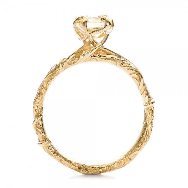 Custom Yellow Diamond and Organic Vine Engagement Ring - Finger Through View