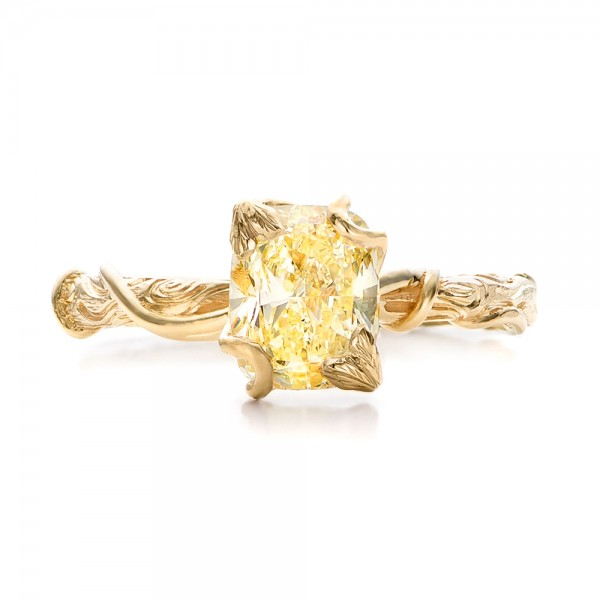 Custom Yellow Diamond and Organic Vine Engagement Ring - Top View