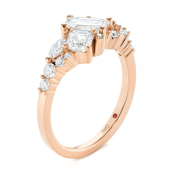 14K Rose Gold Custom Yellow Gold Diamond Cluster Engagement Ring - Three-Quarter View -  104052 - Thumbnail